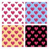 Modèles avec des coeurs de pixel Photo stock