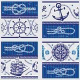 Modèles avec des symboles nautiques et des noeuds marins Images libres de droits