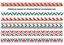 Modèles basés sur l'ensemble folklorique sibérien d'ornements de Khanty-Mansi illustration de vecteur
