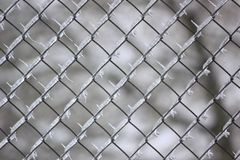 Modèles d'isolement de glaçon à l'intérieur de barrière de maillon de chaîne. Photographie stock