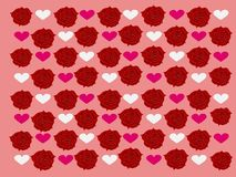 Modèles de belles roses rouges avec le fond rose et les coeurs blancs et roses d'amour photos stock