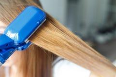 Modèles de coiffure de coiffeur utilisant le redresseur closeup Foyer sélectif Photo libre de droits