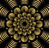 Modèles de fleur jaunes abstraits de vecteur dans le style de fractale sur le fond noir, tuile décorative contrastante haute avec Image stock