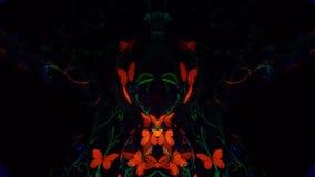 Modèles de kaléidoscope des papillons oranges dans l'art de corps et des émetteurs à rayonnement ultraviolet banque de vidéos
