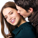 Modèles de mode comme couples dans le foreplay photographie stock