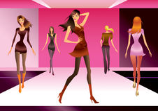 Modèles de mode dans la revue illustration stock