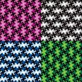 Modèles de morceau de puzzle dans quatre Colorways Photos stock