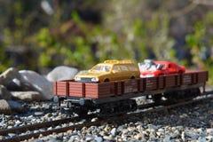 Modèles des chemins de fer, plate-forme de voiture de rail photos stock