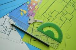 Modèles - dessins architecturaux professionnels photo stock