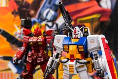Modèles en plastique d'échelle de Gundam dans la boutique chez la Thaïlande Photo libre de droits