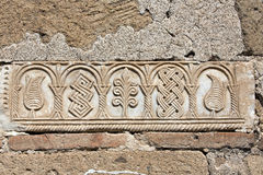 Modèles en relief sur le mur du cupolaii de Seljukian Photos stock