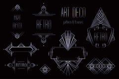 Modèles et cadres de vintage d'Art Deco Dos géométrique de rétro partie illustration de vecteur
