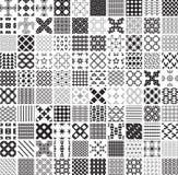 100 modèles et ornements géométriques sans couture en noir et blanc, monochrome illustration libre de droits