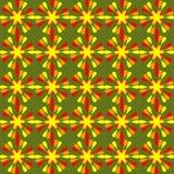 Modèles floraux d'été, ornement floral gai en rouge et orange sur le fond vert vivant fond sans couture dedans illustration libre de droits