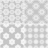 Modèles floraux Ensemble de milieux sans couture gris et blancs Photo stock