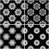 Modèles floraux Ensemble de milieux sans couture noirs et blancs Photo libre de droits