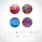 Modèles géométriques abstraits réglés avec des icônes de style de hippie pour Logo Design Ligne rétros signes pour des Logotypes  Images libres de droits