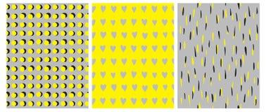 3 modèles géométriques simples de vecteur Dots Isolated jaune et noir sur Gray Background illustration libre de droits