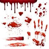 Modèles réalistes de tache de sang d'éclaboussures de sang réglés Images libres de droits