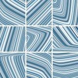 Modèles rayés avec les rayures minces bleues et grises Images stock
