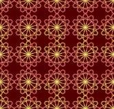 Modèles rouges et jaunes fins sur le fond rouge foncé Formes symétriques en filigrane ornement de papier peint de seamles illustration stock