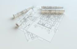 Modèles roulés de Chambre sur Gray Background Image stock