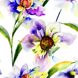 Modèles sans couture avec des fleurs de Gerber Images libres de droits