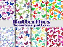Modèles sans couture avec des papillons Ensemble de milieux avec les papillons polygonaux Vecteur illustration libre de droits