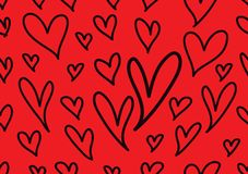 Modèles sans couture avec les coeurs rouges, fond d'amour, vecteur de forme de coeur, jour de valentines, texture, tissu, épousan illustration libre de droits