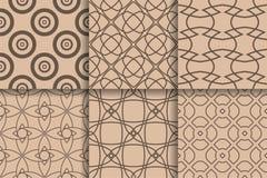 Modèles sans couture de Brown Fond géométrique réglé Photographie stock