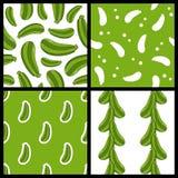 Modèles sans couture de courgette verte réglés Image libre de droits