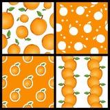 Modèles sans couture de fruit d'abricot réglés Image libre de droits