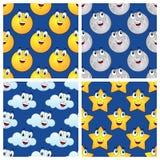 Modèles sans couture de nuage d'étoile de lune de Sun Image stock