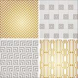 Modèles sans couture de papier peint de vintage d'Art Deco réglés Image libre de droits