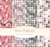 Modèles sans couture de point de polka de vintage, ensemble de quatre. Images libres de droits