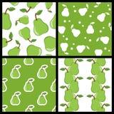 Modèles sans couture de poire verte réglés Photos stock