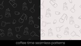 Modèles sans couture de préparation de café, grande conception pour tous buts Fond sans joint de vecteur illustration stock