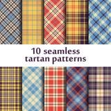 10 modèles sans couture de tartan Photos stock