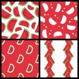 Modèles sans couture de tranche de pastèque réglés Image libre de droits