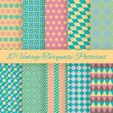 10 modèles sans couture de turquoise de vintage Vecteur Images stock