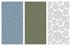 Modèles sans couture de vecteur avec des fleurs et des feuilles Image libre de droits