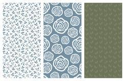 Modèles sans couture de vecteur avec des fleurs et des feuilles Photo stock