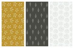 Modèles sans couture de vecteur avec des fleurs et des feuilles Photographie stock