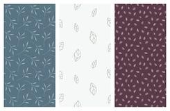 Modèles sans couture de vecteur avec les feuilles et le feuillage Image libre de droits