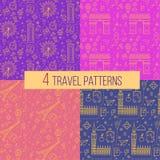 Modèles sans couture de voyage réglés : Londres et Paris illustration libre de droits