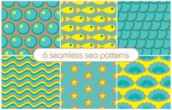 6 modèles sans couture différents de mer (carrelage) Illustration de vecteur illustration stock