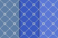 Modèles sans couture géométriques bleus Photos stock