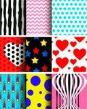 Modèles sans couture géométriques colorés à la mode abstraits ensemble lumineux de fond de couleur de 80 du ` s-90 styles du ` s Photographie stock