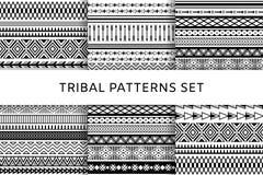 Modèles sans couture indiens tribals de boho ethnique réglés Collection noire et blanche photos libres de droits