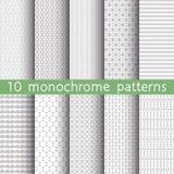 10 modèles sans couture monochromes Photographie stock